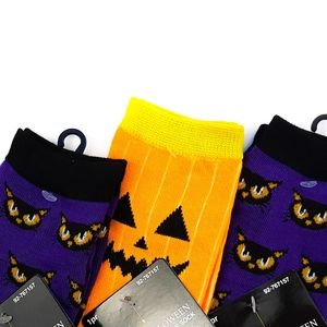 🆕️ Black Cat and Orange Jack-o-lantern Crew Socks